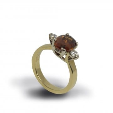 Brown Zircon & Diamond Ring