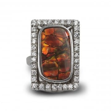 Ammolite & Diamond Ring