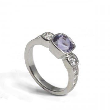 Plum Sapphire & Diamond Ring