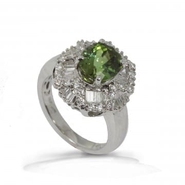 Bicolor Tourmaline & Diamond Ring