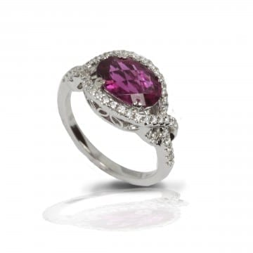Pink Tourmaline & Diamond Ring