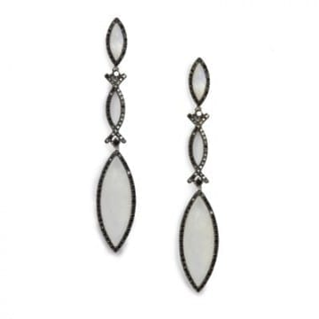 Moonstone & Black Diamond Earrings