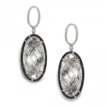 Topaz and Black Diamond Earrings