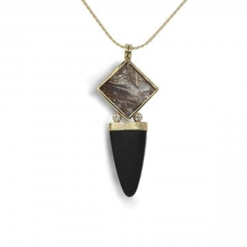 Rutilated Quartz & Onyx Pendant