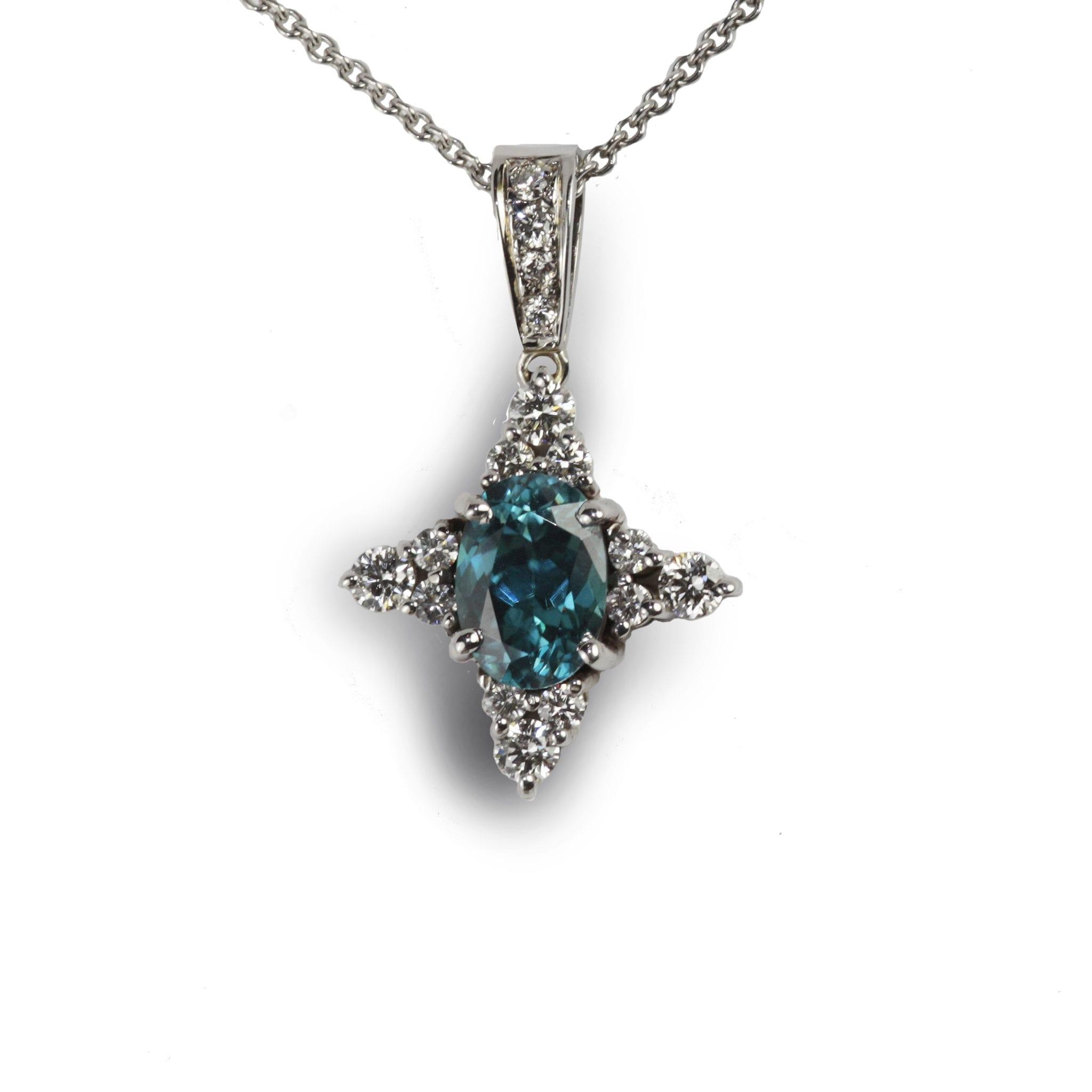 Blue Zircon and Diamond Pendant