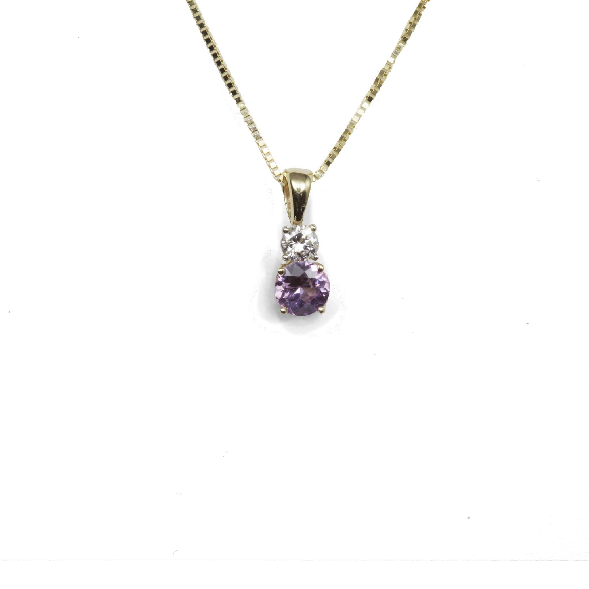 Pink Sapphire & Diamond Pendant