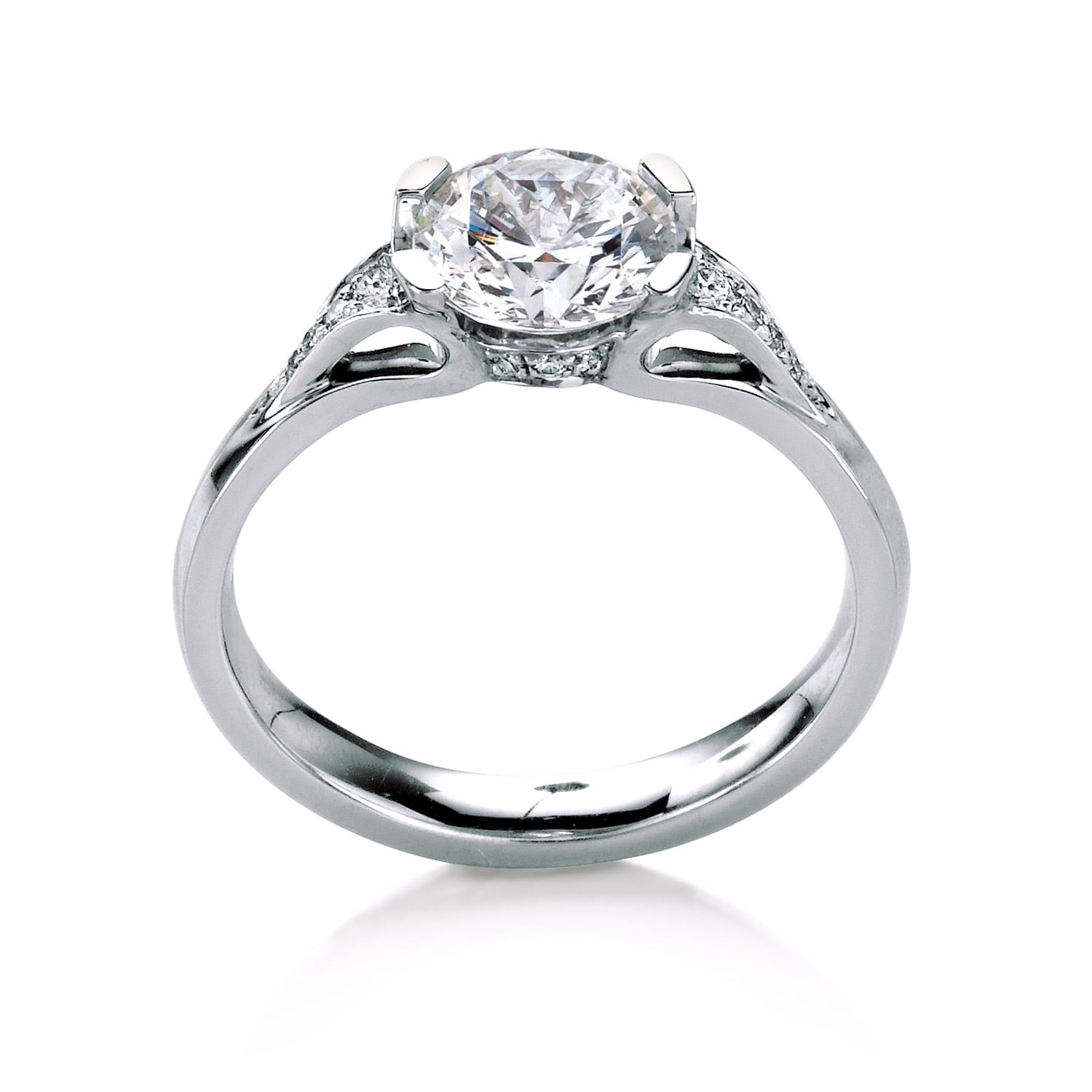 low cathedral dia under platinum pave surprise with wedding rings solitaire side profile